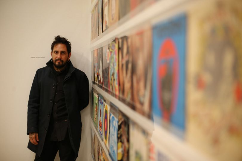 Magnificent Obsessions: The Artist as Collector, Dr Lakra's record covers collection. Photograph by Peter McDiarmid