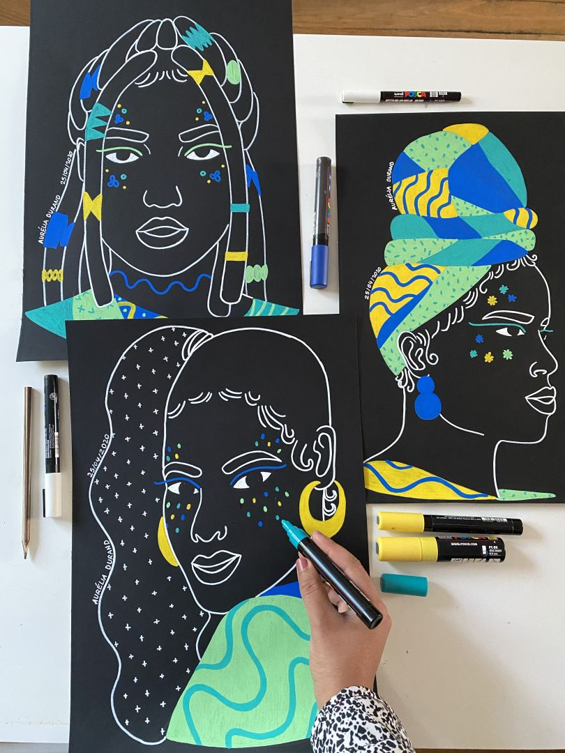From a new series of small canvas artworks to raise money for the NGO Malala Fund © Aurélia Durand