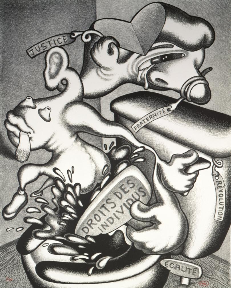 Peter Saul, Rights of the Individuals, 1989, coll. Centre national des arts plastiques, lithographie en NB, 70,7 x 55,6 cm © Peter Saul / Cnap /