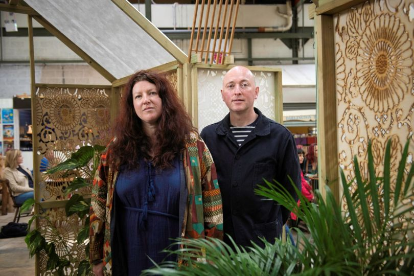 Artists Cabinet of Curiosity with their work Green House at Darlington Market. Image credit: Tracy Kidd
