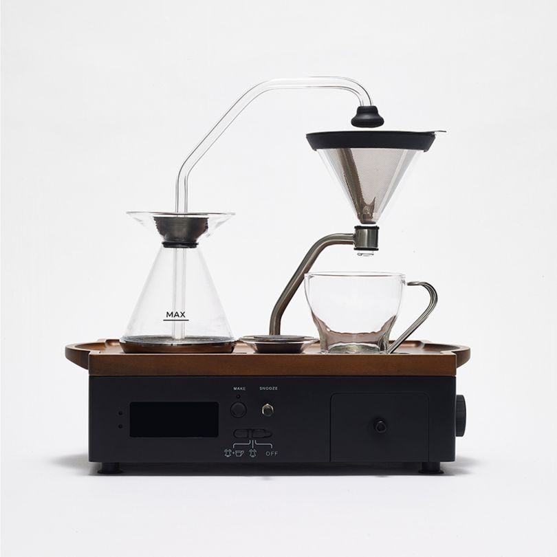 The Barisieur Tea & Coffee Brewing Alarm Clock by Joshua Renouf. Winner in the Home Appliances Design Category, 2018-2019.