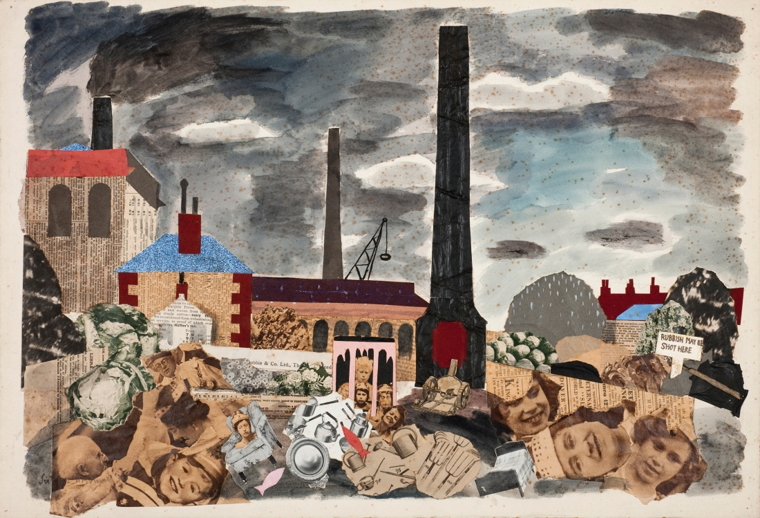 Julian Trevelyan, Rubbish May be Shot Here, 1937, mixed media on paper, 31 x 54 cm, © Tate, London 2018 / The Julian Trevelyan Estate