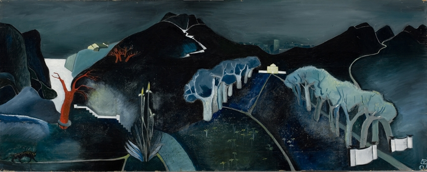 Tove Jansson, Mysterious Landscape, c. 1930, Oil on plywood, 61 x 152.5 cm, Ateneum Art Museum. Photo: Finnish National Gallery / Hannu Aaltonen