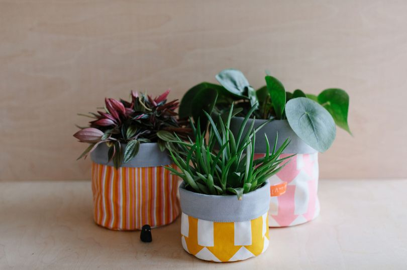 Fabric storage pots by Laura Spring. Image credit: CaroWeiss