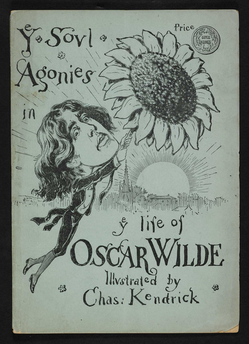 A caricature of Oscar Wilde holding onto a sunflower illustrated by Chas. Kendrick, dated 1882 (c) British Library Board
