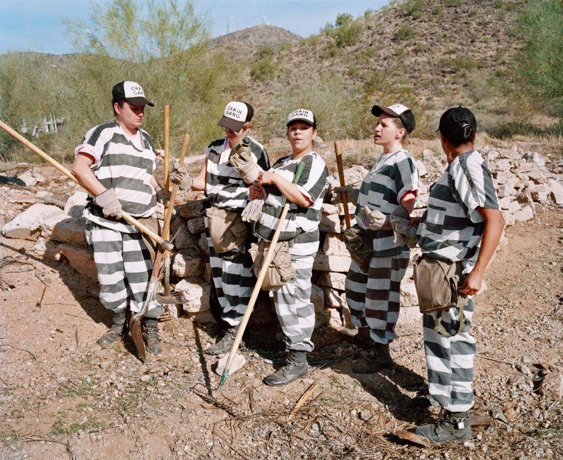 Female inmates during weeding duty