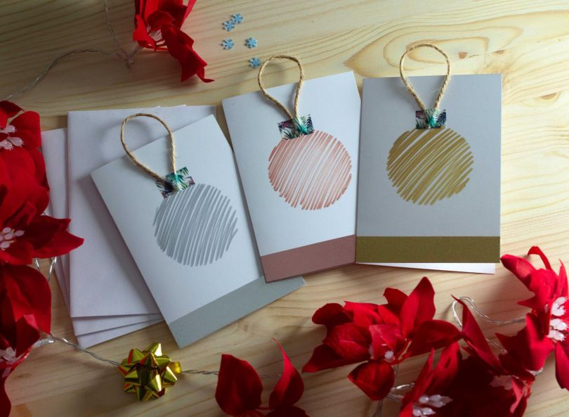 Bauble Christmas cards by Radhika Mary
