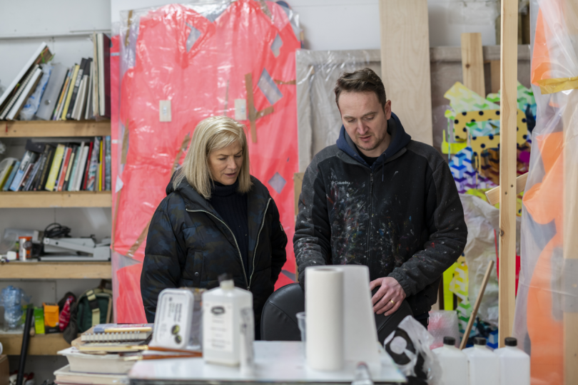 Ralph Anderson with Jennifer Guerrini Maraldi, the director of JGM gallery during a recent studio visit