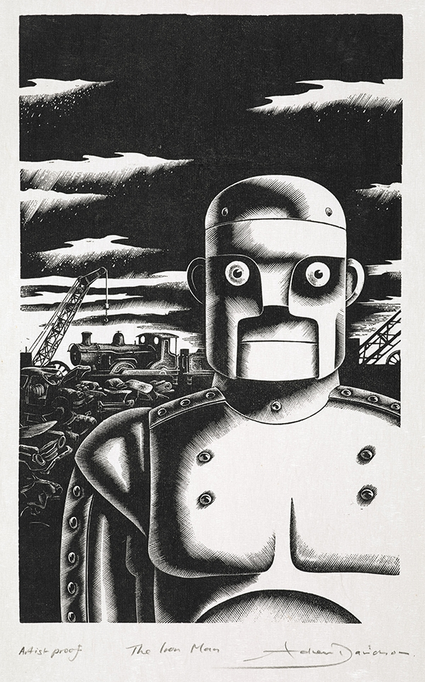 The Iron Man by Ted Hughes original artwork, illustrations (c) Andrew Davidson