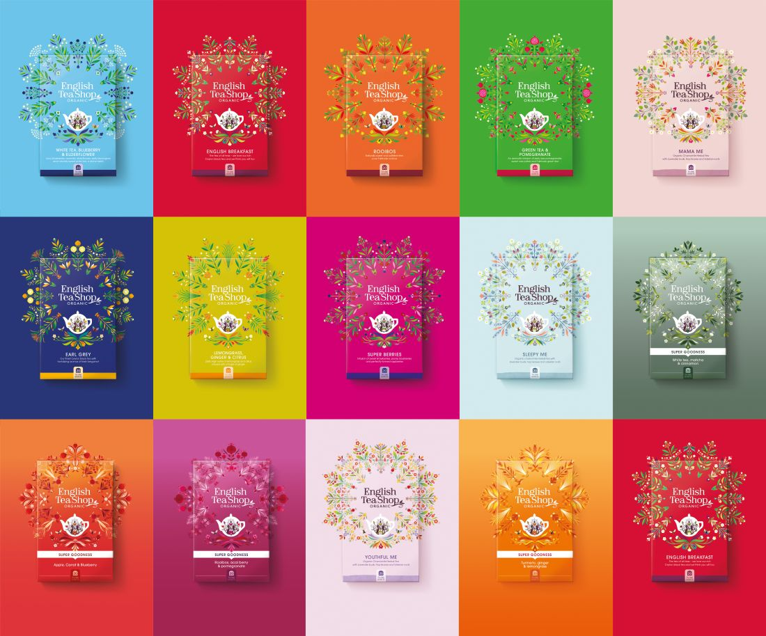 Echo's refreshing and vibrant brand identity for English Tea Shop helps to tell its story