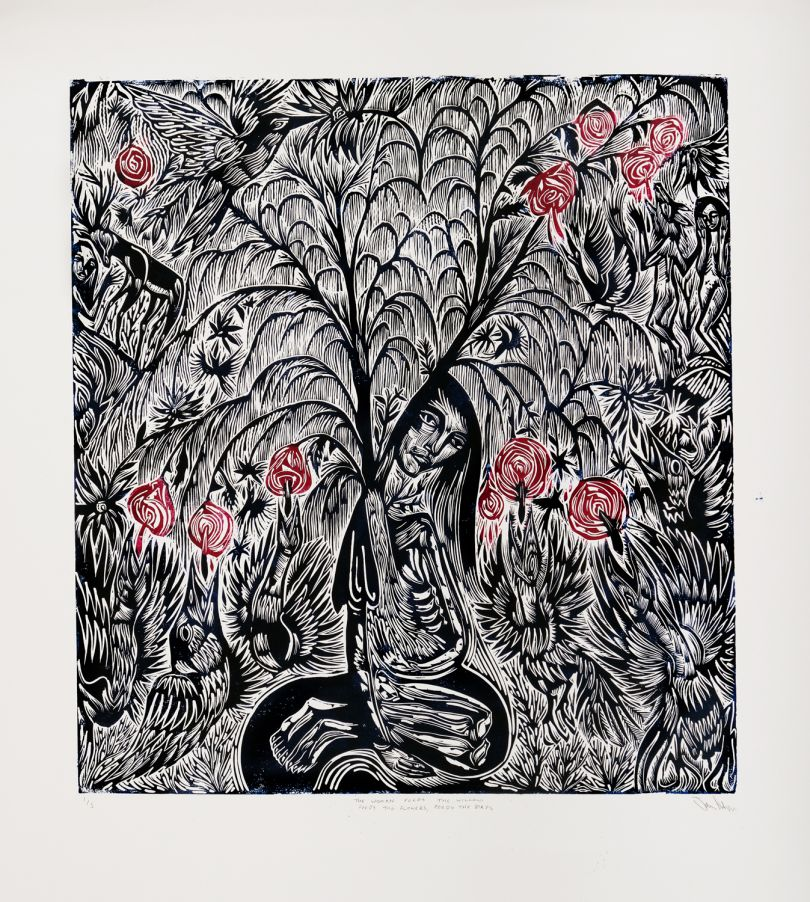 Arusha Gallery, John Abell, The Woman Feeds The Willow, Feeds the Flowers, Feeds the Birds, 2019, Linocut, 100 x 90cm. Photo credit: [John Sinclair](http://www.thebigsink.com)