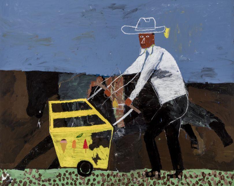 Danny Fox Ice cream seller, 2016 Acrylic on canvas 243.8 x 304.8 cm © Danny Fox, 2017 Image courtesy of the Saatchi Gallery, London