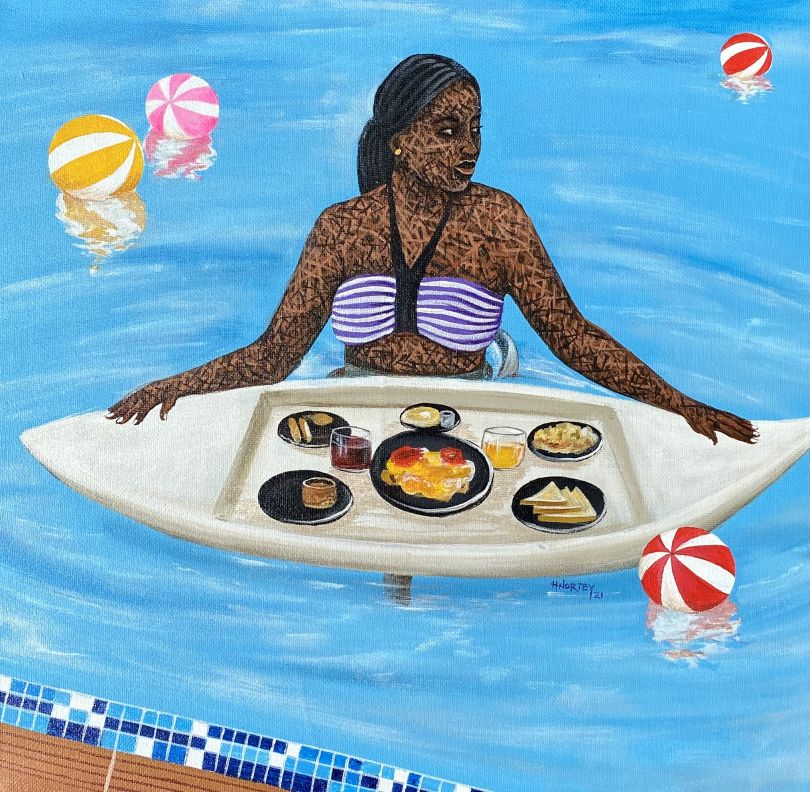 """Hamid Nii Nortey, """"A swim away from a good mood"""", 2021. Acrylic on canvas. Courtesy of the artist and of ADA contemporary art gallery"""