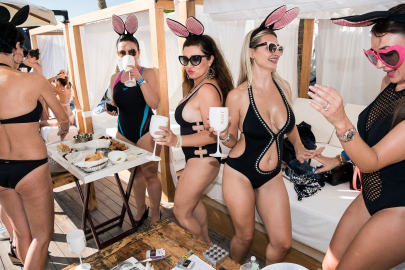 Beach party, Dubai, January 2016. Russian women celebrating Friday brunch at a beach club in Dubai. © Nick Hannes. Documentary Series Winner, Magnum and LensCulture Photography Awards 2017