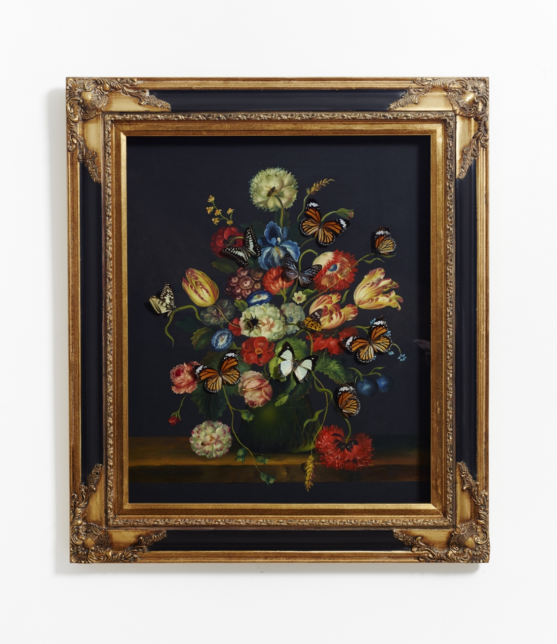 Nancy Fouts, Still life + real Life, Painting with butterflies, 47 x 41 x 5 cm (1)