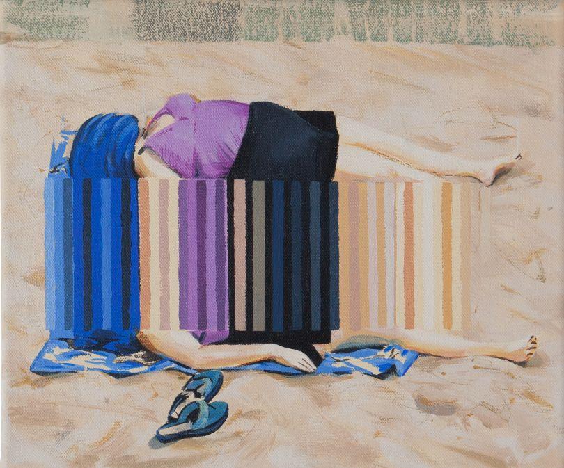 Darren Coffield, Drowse, 2019. Acrylic on canvas, 25.8 x 30.5 cm © Darren Coffield. Courtesy of Dellasposa Gallery