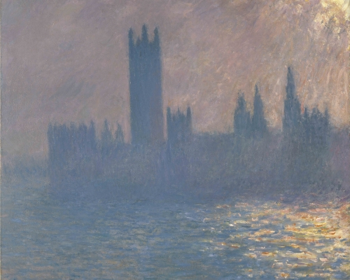 Houses of Parliament, sunlight effect Claude Monet (1840-1926) Houses of Parliament, Sunlight Effect 1903 Oil paint on canvas 813 x 921 mm Brooklyn Museum of Art, New York