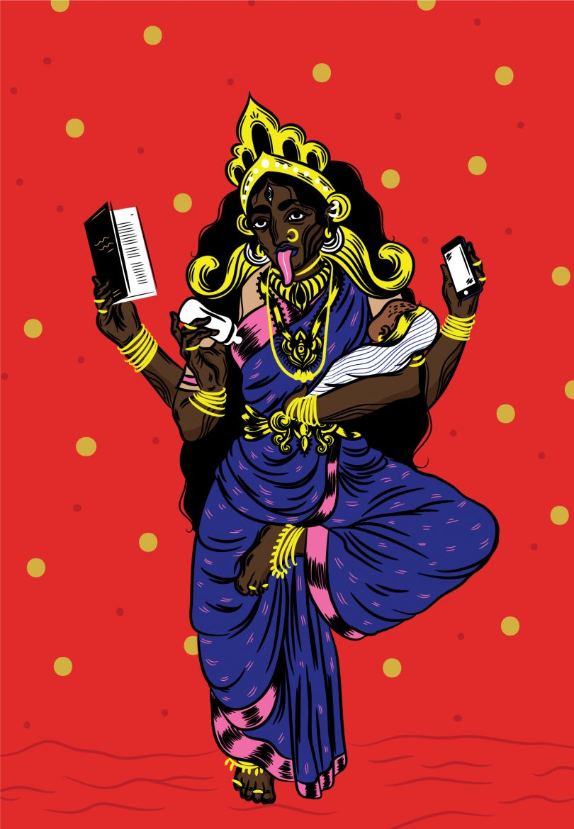 Commissioned by The New Yorker for the Mother's day edition, this poster was inspired by Kali/ Kaliamman as she's called in South India  © Osheen Siva