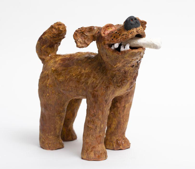 Sally SAUL, Dog With Bone, 2018 Clay and glaze 13 1/2 x 6 1/2 x 14 1/2 inches 34,3 x 16,5 x 36,8 cm