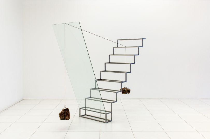 Tulio Pinto, Nadir No. 8 (2014), Steel Ladder, Glass, Rope and Stones, 204x260x80cm