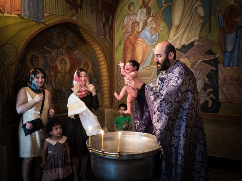 An infant is baptised according to the Orthodox rite in a church in Tbilisi, Georgia. July 2016 | © Beniamino Pisati, Italy, Shortlist, Open, Culture, 2017 Sony World Photography Awards