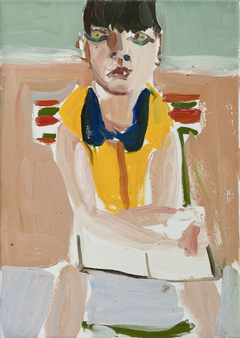 Esme in a Yellow Dress, 2016 Oil on canvas 35.6 x 25.2 x 2.1 cm 14 1/8 x 9 7/8 x 7/8 in  © Chantal Joffe  Courtesy the artist and Victoria Miro, London / Venice