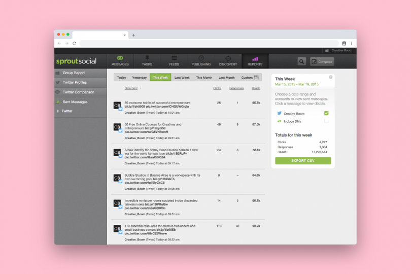 SproutSocial's Sent Messages analytics tool