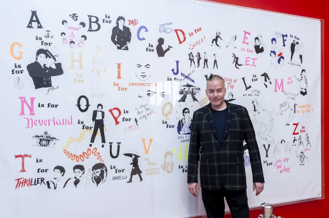 Donald Urquhart with his work, A Michael Jackson Alphabet 2017. Photograph by Jorge Herrera