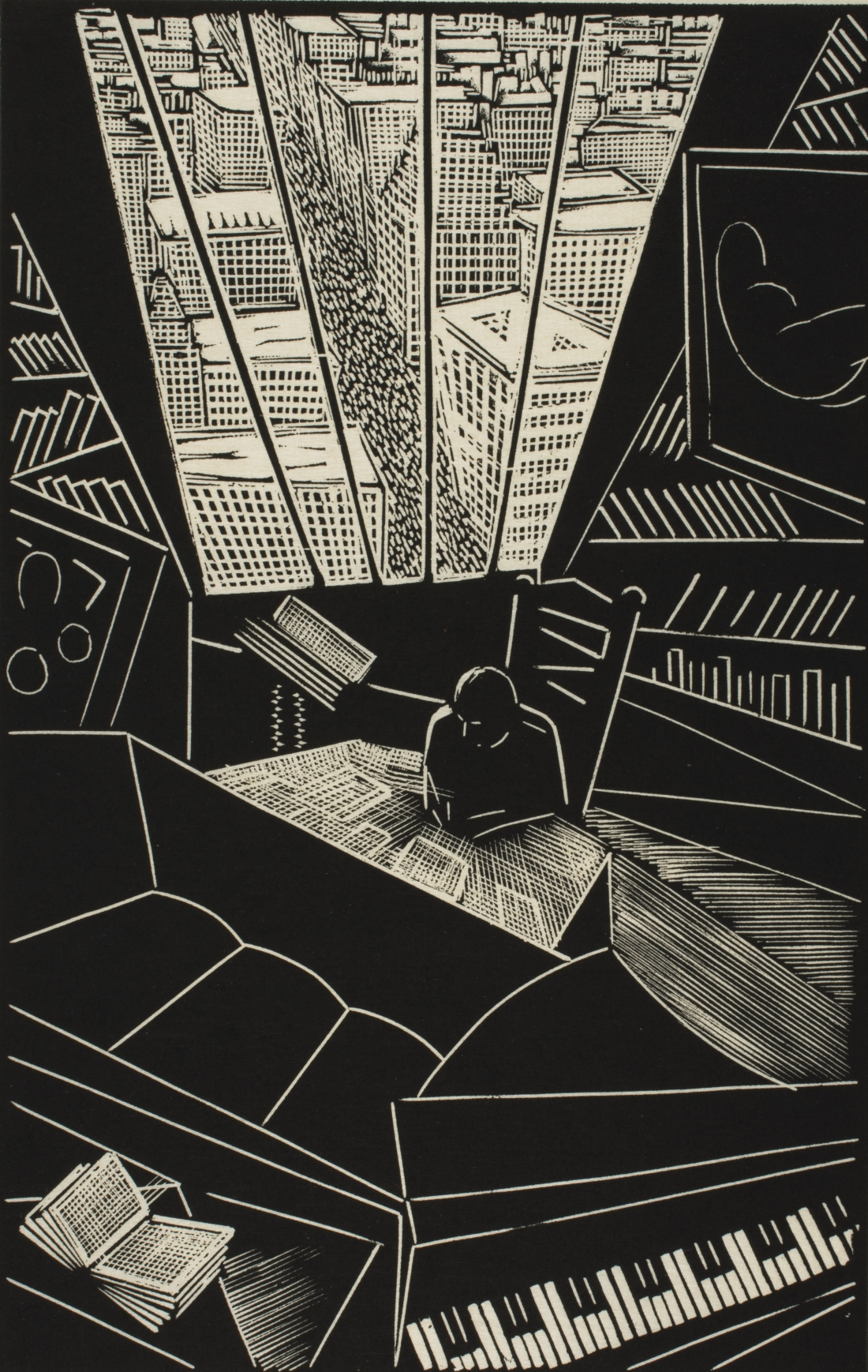 Of a Great City, 1923, by Wharton H. Esherick, American, 1887 - 1970. Wood engraving, image: 9 15/16 x 6 5/16 inches, sheet: 11 7/16 x 7 1/2 inches. Philadelphia Museum of Art: Purchased with the Lola Downin Peck Fund from the Carl and Laura Zigrosser Collection, 1979-12-11