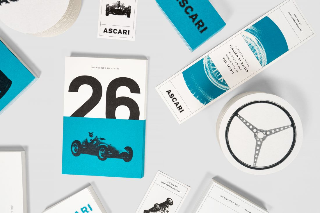 Blok's identity for an Italian restaurant pays homage to one of the greatest racing drivers of all time