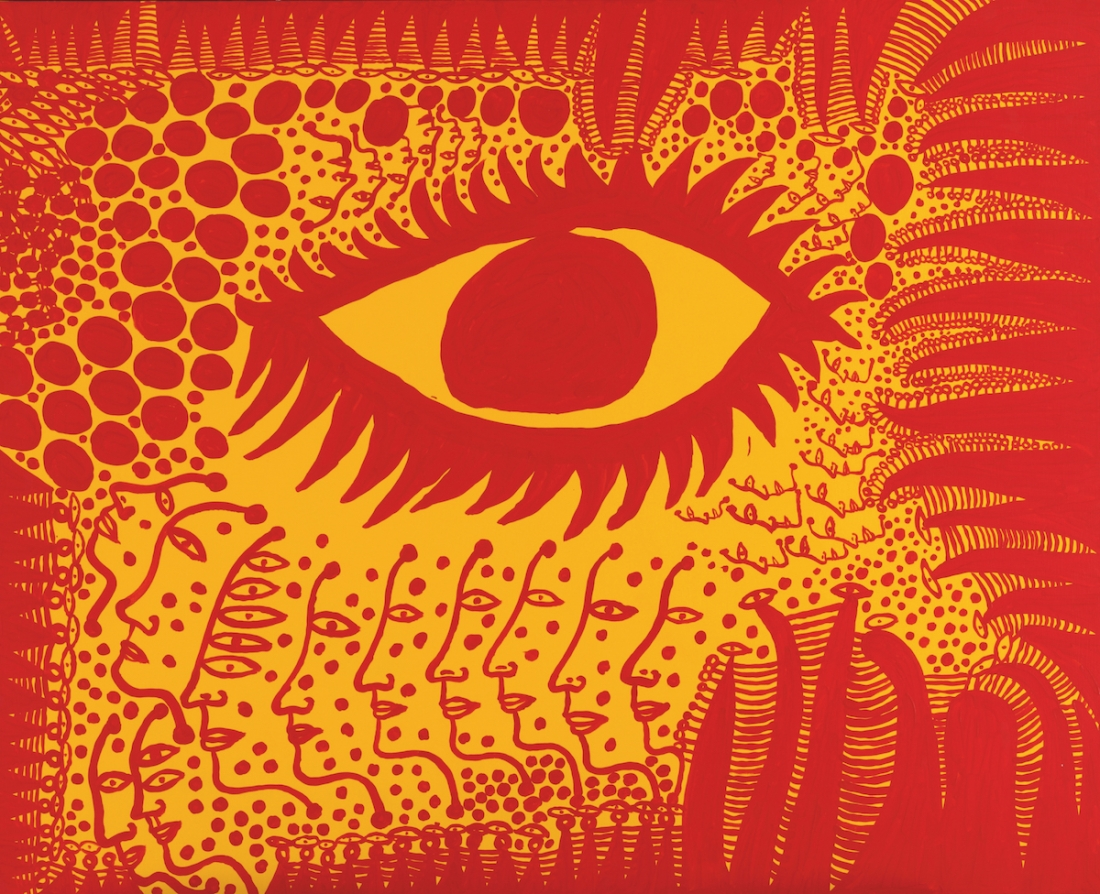 Yayoi Kusama, I Want to Live Honestly, Like the Eye in The Picture, 2009, acrylic on canvas, 130 x 162 cm. Picture credit: artwork © Yayoi Kusama (page 183)