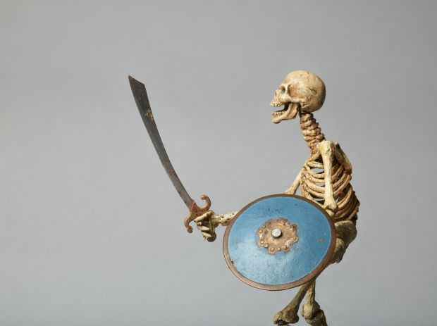 Model of Skeleton from Jason and the Argonauts, c.1961 by Ray Harryhausen (1920-2013). Mounted on wooden base.  Collection: The Ray and Diana Harryhausen Foundation (Charity No. SC001419) © The Ray and Diana Harryhausen Foundation Photography: Sam Drake (National Galleries of Scotland)