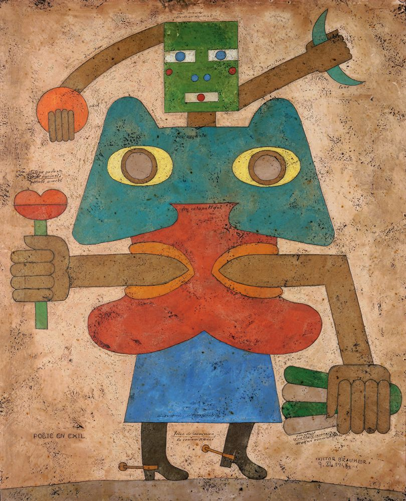Victor Brauner, Poète en exil,1946, Wax, pencil and ink on card board, 72.7 x 59.5 cm, Courtesy Olivier Malingue Gallery