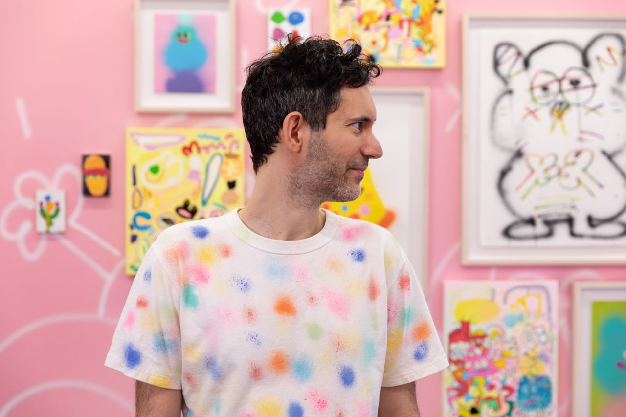 Jon Burgerman at Eye Candy. Image by Dan Watkins Photography, courtesy of Praise Shadows Art Gallery