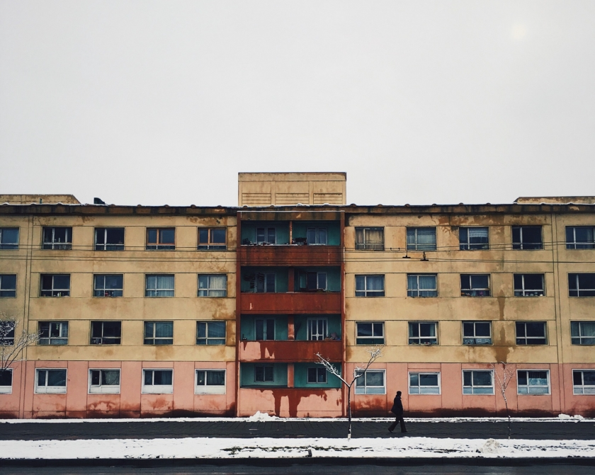 A row of block apartments which was built/provided by the East Germans
