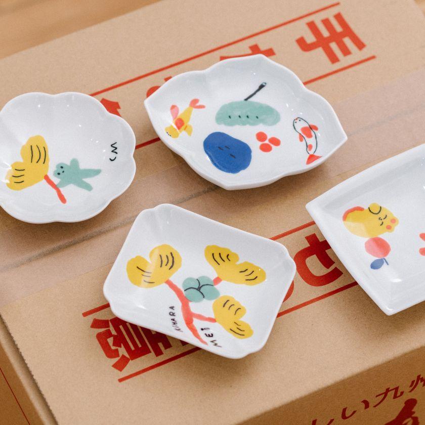 Tensha Porcelain plates for Made by Kihara Japan