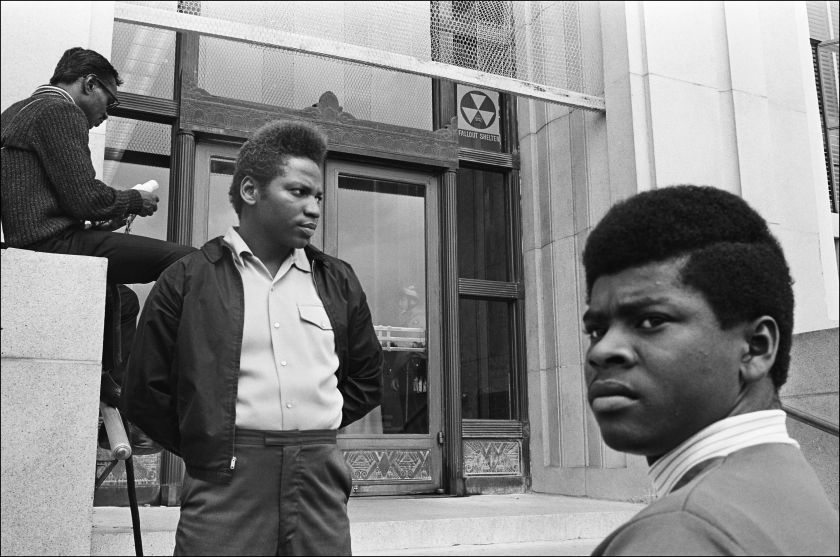 """Panther Party supporters outside the Alameda County Courthouse, Oakland CA, September 1968. From, """"The Lost Negatives,"""" photographs by Jeffrey Henson Scales Credit: Jeffrey Henson Scales"""