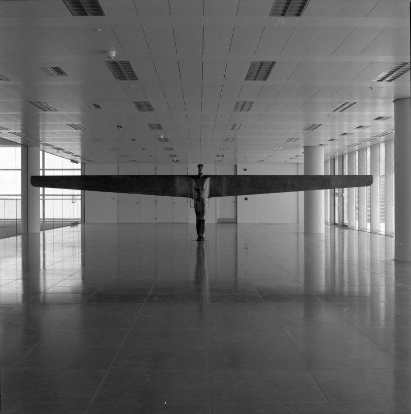 Antony Gormley, Case for an Angel II, 1990, in the exhibition 'Air and Angels', ITN Building, 200 Gray's Inn Road, London, 1994.