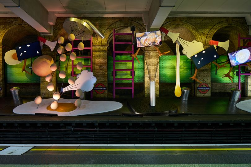 Heather Phillipson, my name is lettie eggsyrub, Gloucester Road station, 2018. Commissioned by Art on the Underground. Photo: G.G. Archard