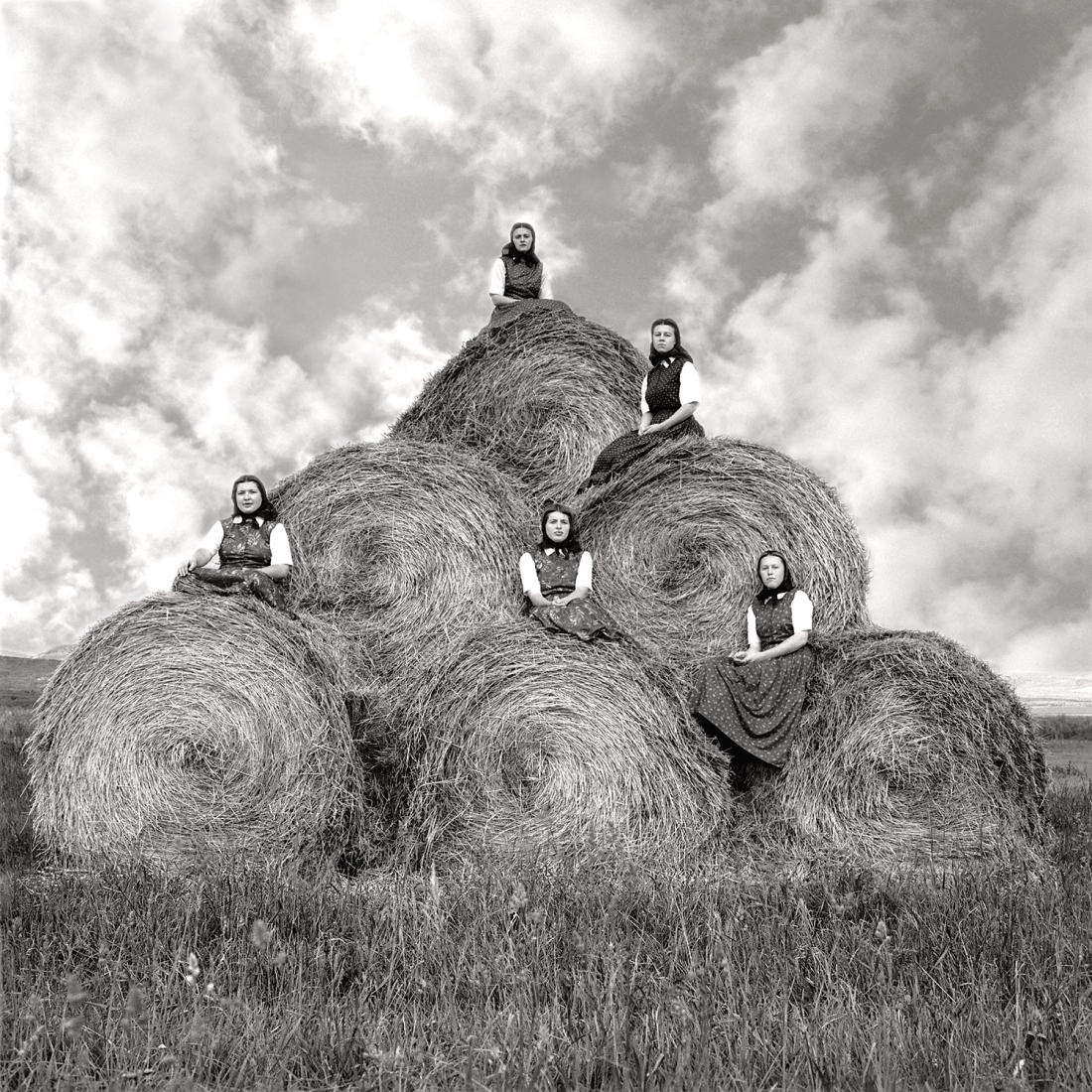 Laura Wilson, Hutterite girls during hay making season, Surprise Creek Colony Stanford, Montana, August 22, 1991