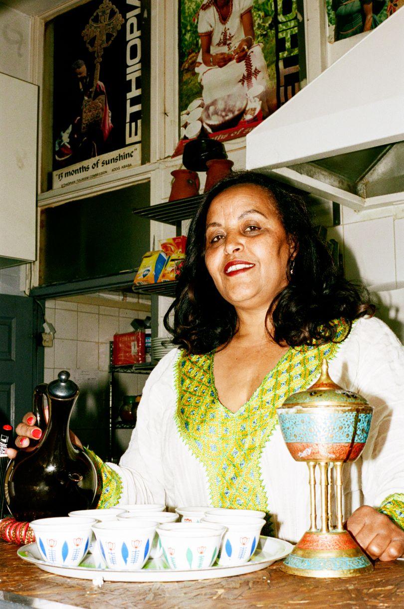 Tafeswork Belayneh inside her cafe Zeret Kitchen in Camberwell © Jonas Martinez / Museum of London