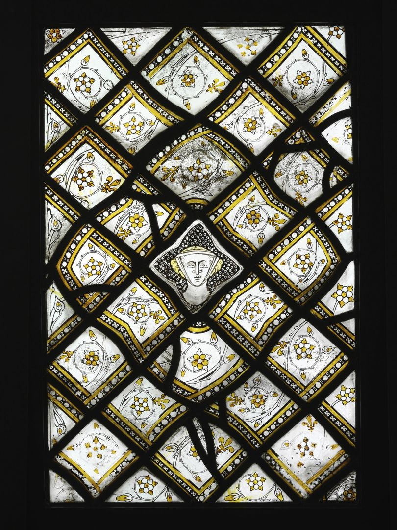 Stained Glass Panel with Quarries and a Female Head, about 1320–4 Paris Grisaille glass with silver stain, 59.5 × 39 cm Victoria and Albert Museum, London, CIRC.95-1930