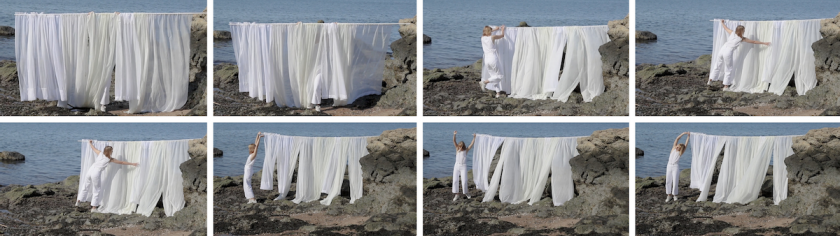 Routine – stills from a performance video at the LightHouse Beach