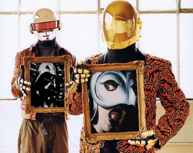 Daft Punk in their original helmets and gloves (Courtesy of Tony Gardner)