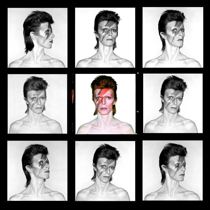 Demi Contact Sheet by Brian Duffy courtesy of The Duffy Archive and The David Bowie Archive to exhibit at Art for Cure 2018 in aid of Breast Cancer Now. © Duffy courtesy of Duffy Archive & The David Bowie Archive