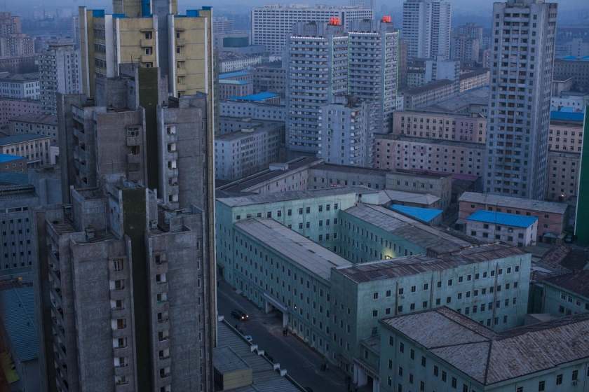 Long-Term Projects, third prize stories: At dusk, the skyline of central Pyongyang, North Korea. David Guttenfelder.
