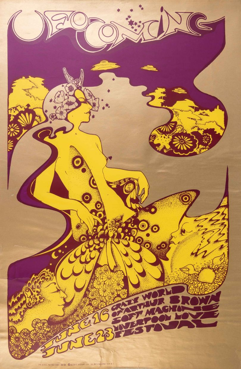UFO COMING (June 1967). Designed by Hapshash and the coloured Coat_Bamalama Posters. Vintage one off, £550.