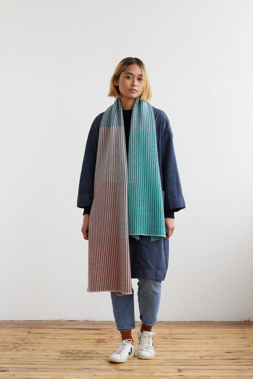 St Ives scarf in coral and kemp, by Hilary Grant