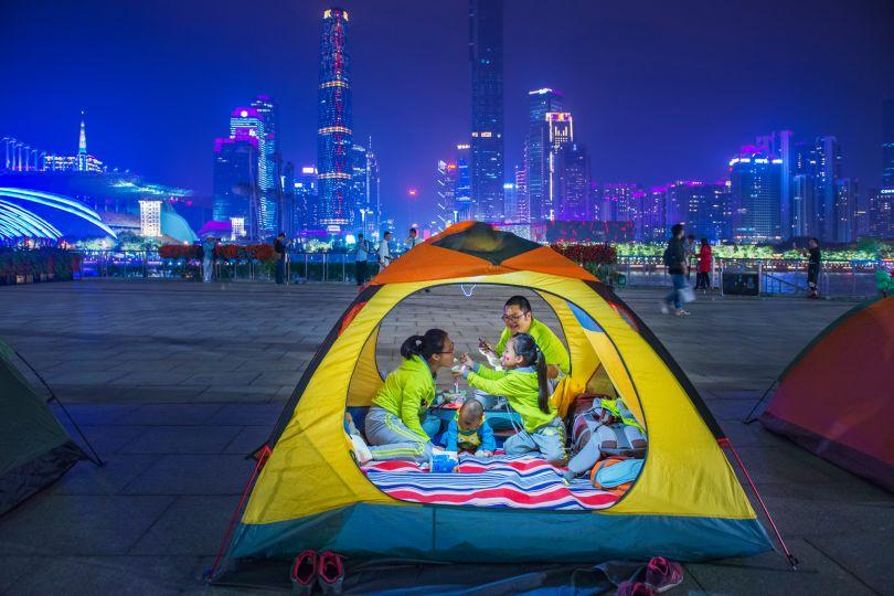 City Camping by Zhou Dainan. © Zhou Dainan, China, Shortlist, Open, Street Photography (Open competition), 2019 Sony World Photography Awards