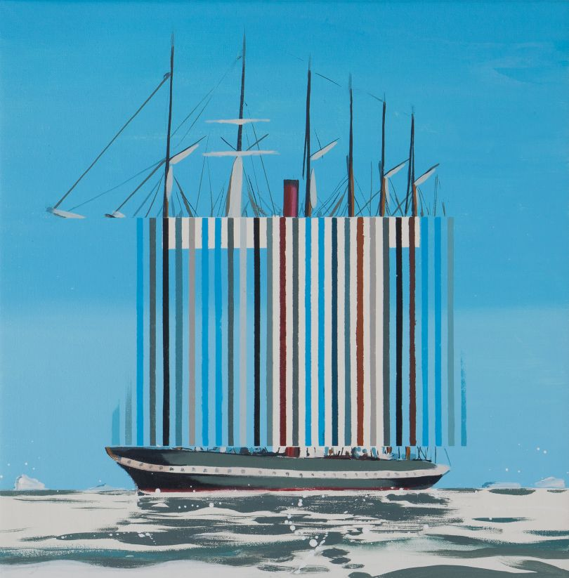 Darren Coffield, SS Great Britain, 2019. Acrylic on canvas, 44.5 x 43.5 cm © Darren Coffield. Courtesy of Dellasposa Gallery